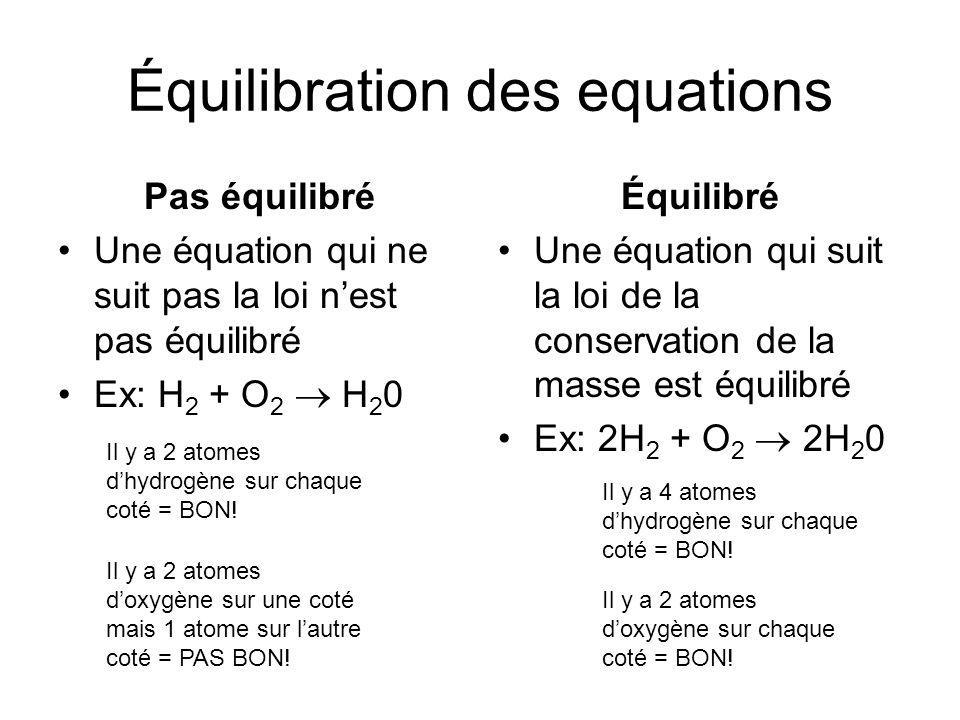 Équilibration des equations