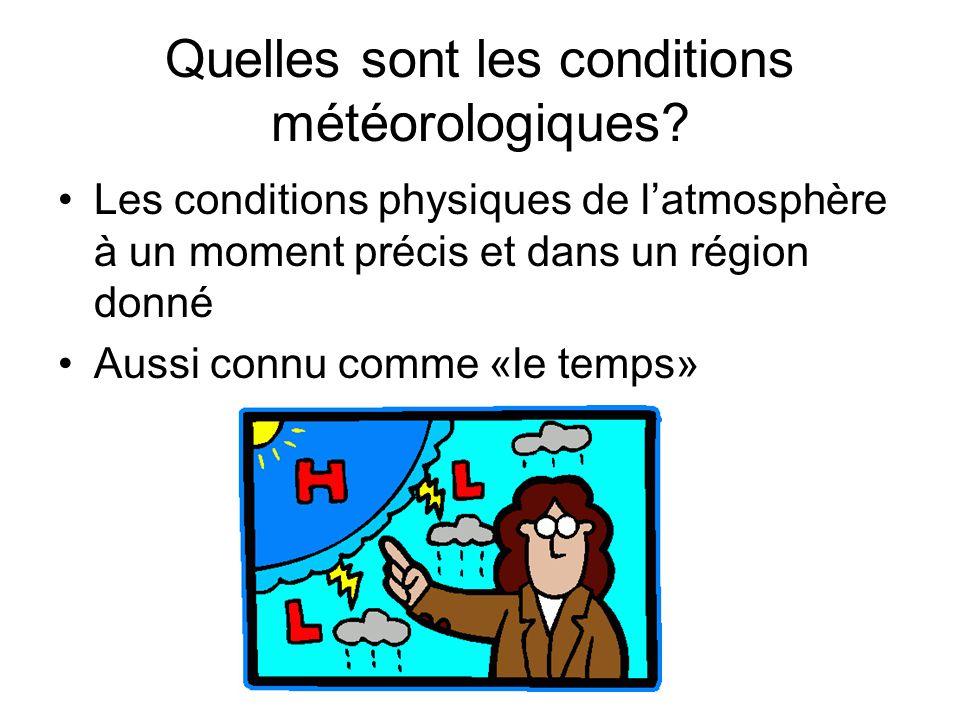 Quelles sont les conditions météorologiques