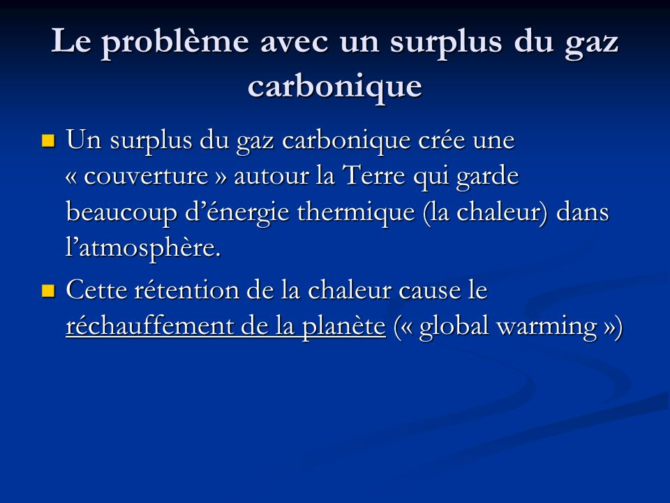 Le problème avec un surplus du gaz carbonique