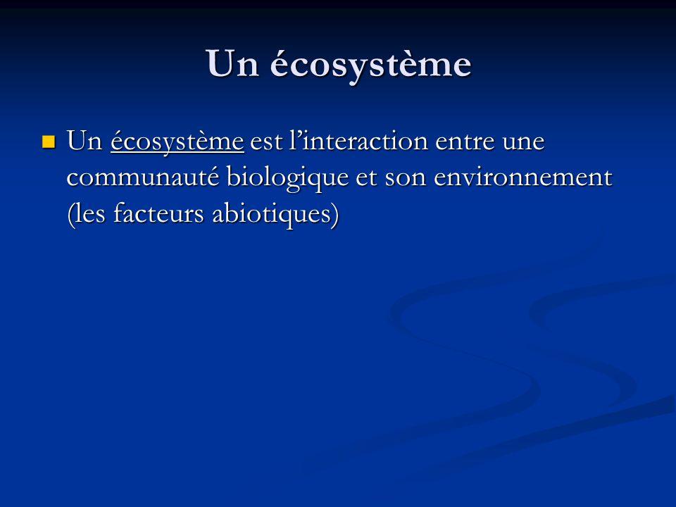 Un écosystème Un écosystème est l'interaction entre une communauté biologique et son environnement (les facteurs abiotiques)