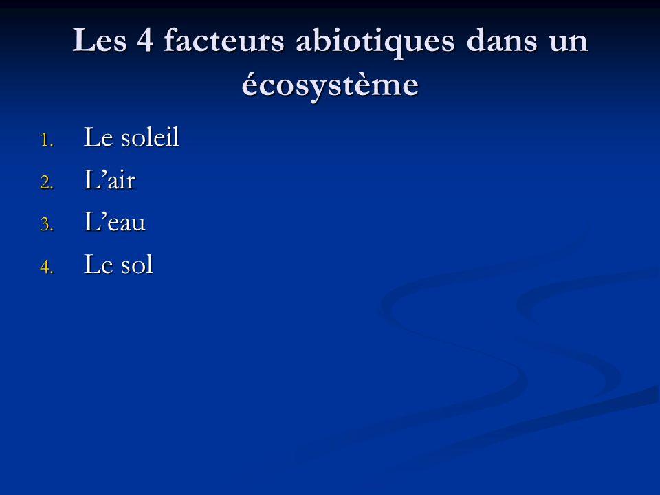 Les 4 facteurs abiotiques dans un écosystème