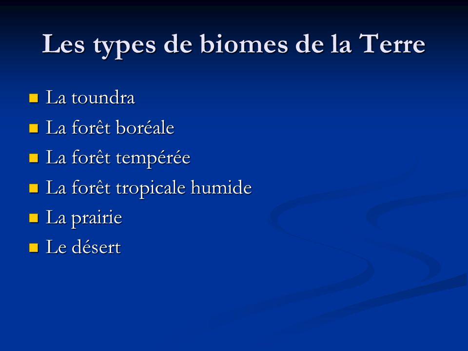 Les types de biomes de la Terre