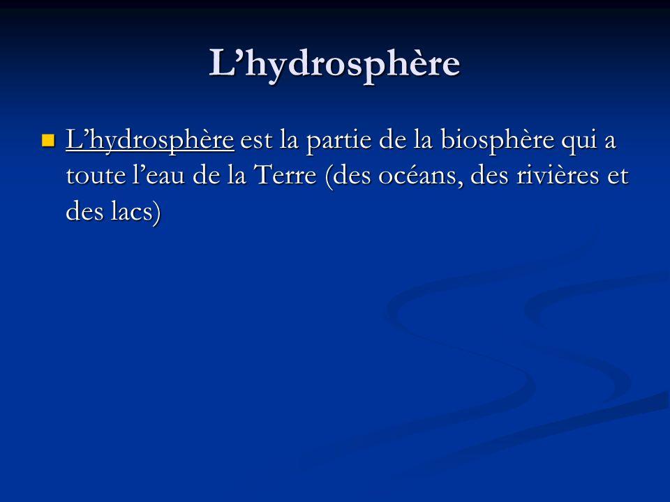 L'hydrosphère L'hydrosphère est la partie de la biosphère qui a toute l'eau de la Terre (des océans, des rivières et des lacs)