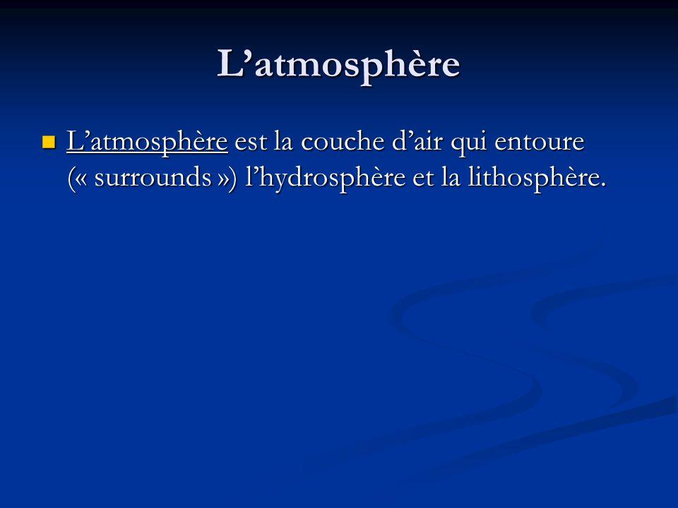 L'atmosphère L'atmosphère est la couche d'air qui entoure (« surrounds ») l'hydrosphère et la lithosphère.