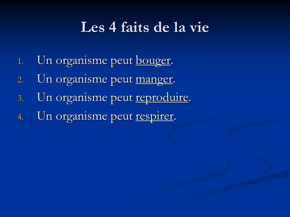 Les 4 faits de la vie Un organisme peut bouger.