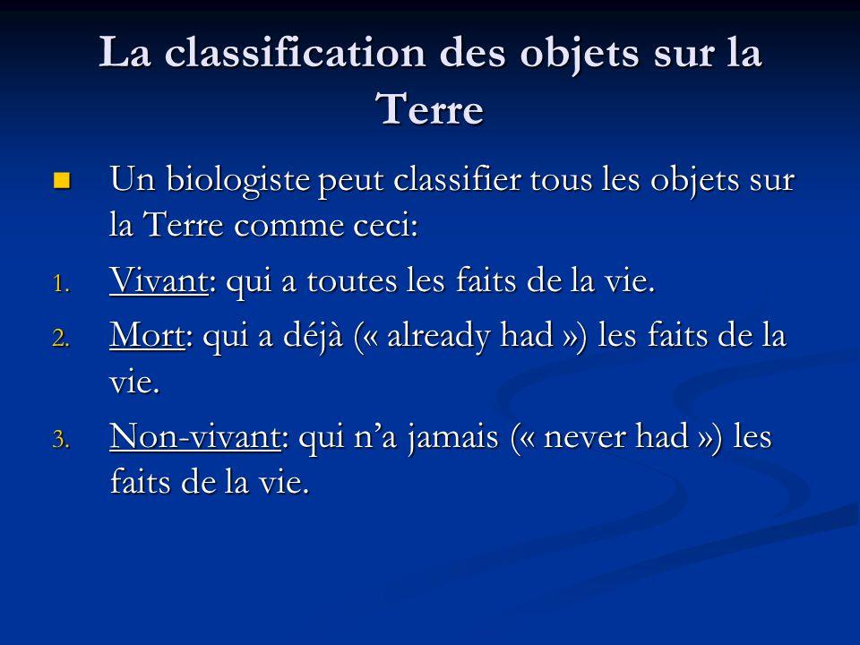 La classification des objets sur la Terre