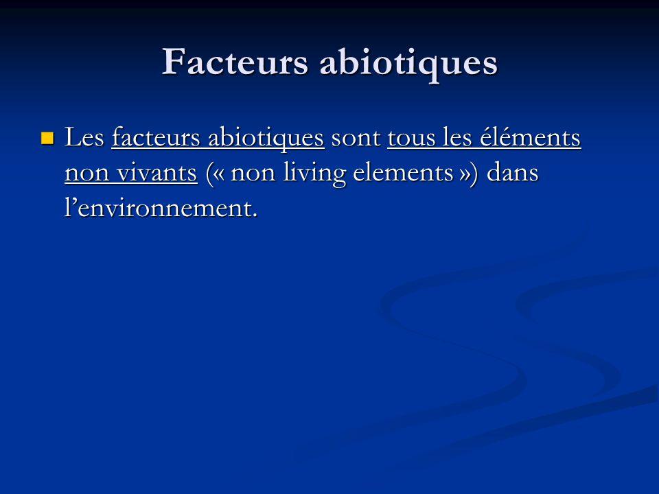 Facteurs abiotiques Les facteurs abiotiques sont tous les éléments non vivants (« non living elements ») dans l'environnement.