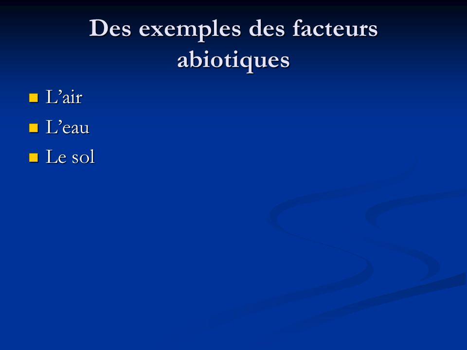 Des exemples des facteurs abiotiques