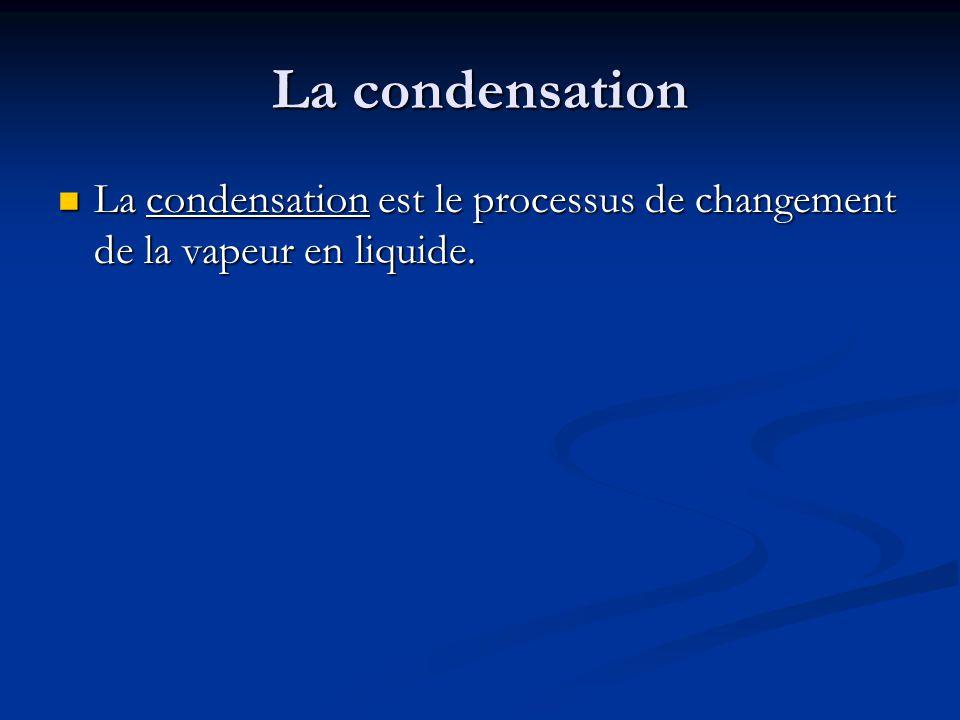 La condensation La condensation est le processus de changement de la vapeur en liquide.