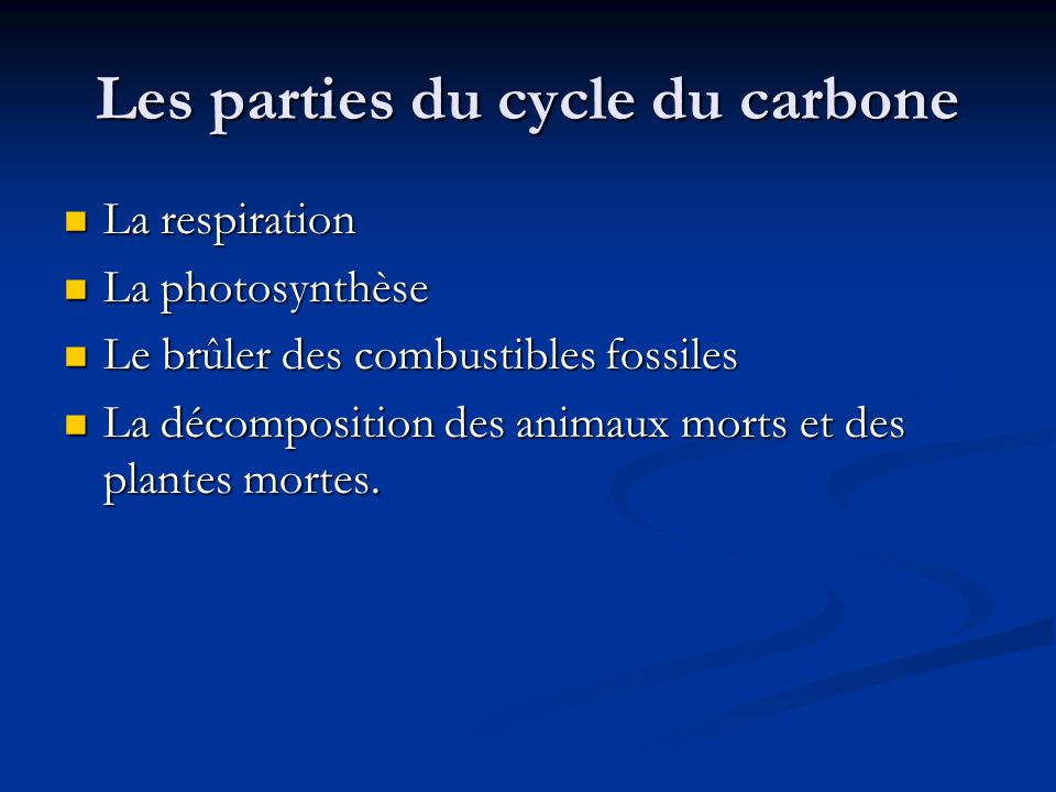 Les parties du cycle du carbone