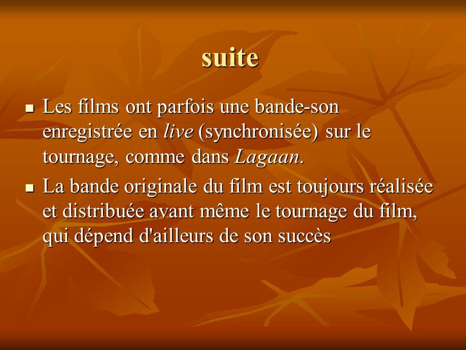 suite Les films ont parfois une bande-son enregistrée en live (synchronisée) sur le tournage, comme dans Lagaan.