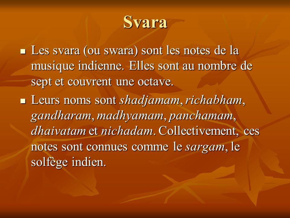 Svara Les svara (ou swara) sont les notes de la musique indienne. Elles sont au nombre de sept et couvrent une octave.