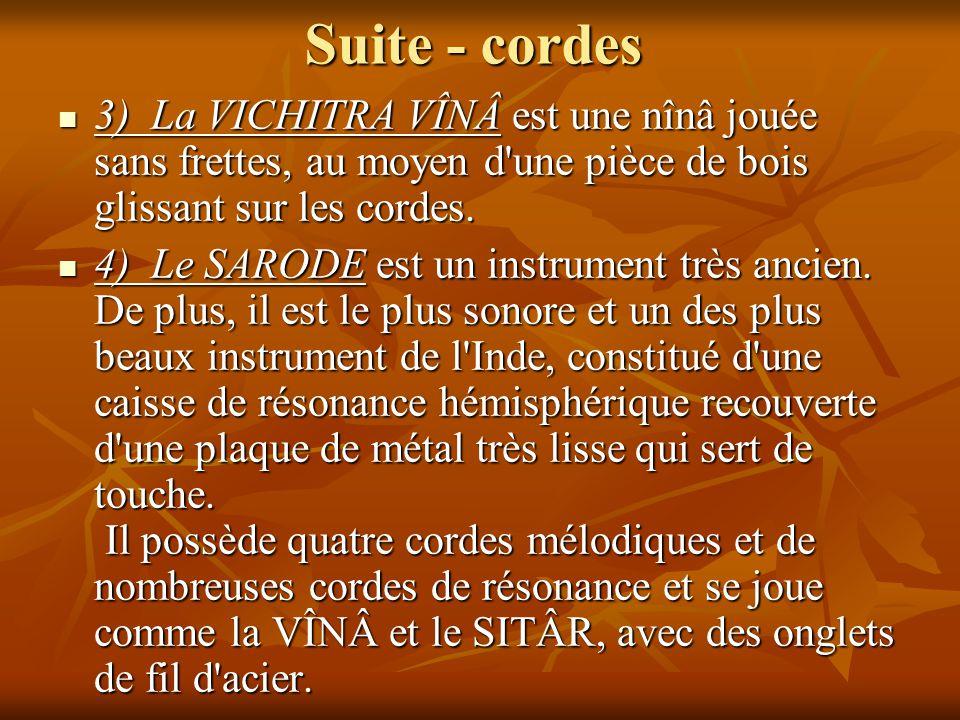 Suite - cordes 3) La VICHITRA VÎNÂ est une nînâ jouée sans frettes, au moyen d une pièce de bois glissant sur les cordes.