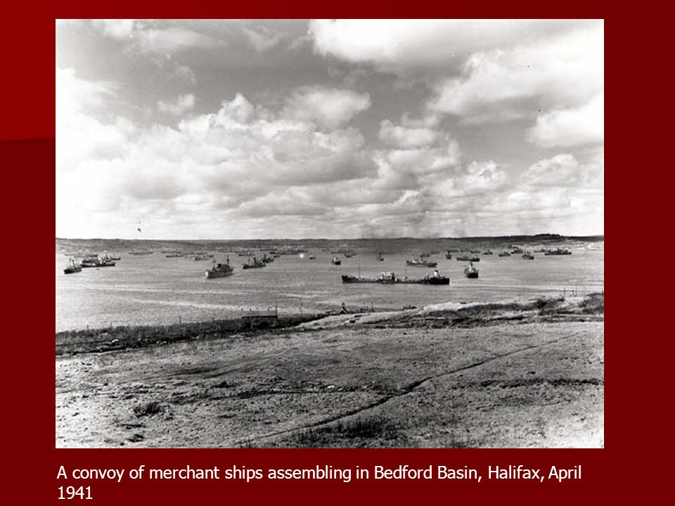A convoy of merchant ships assembling in Bedford Basin, Halifax, April 1941