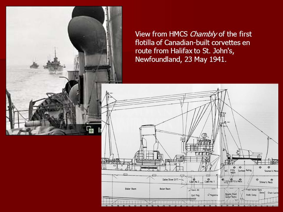 View from HMCS Chambly of the first flotilla of Canadian-built corvettes en route from Halifax to St.