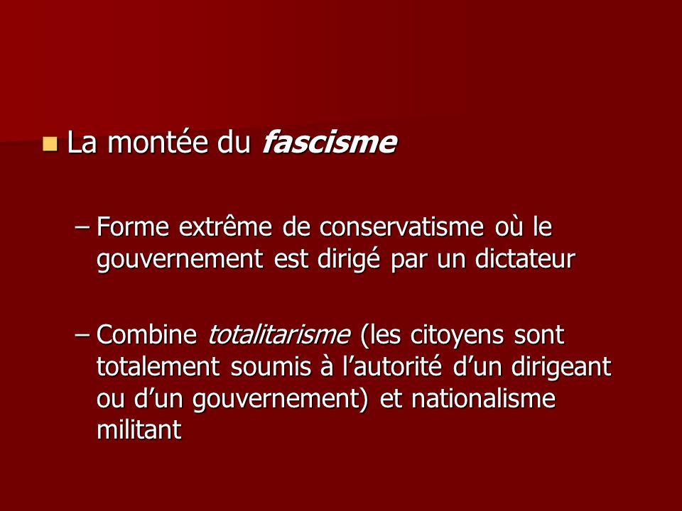 La montée du fascisme Forme extrême de conservatisme où le gouvernement est dirigé par un dictateur.