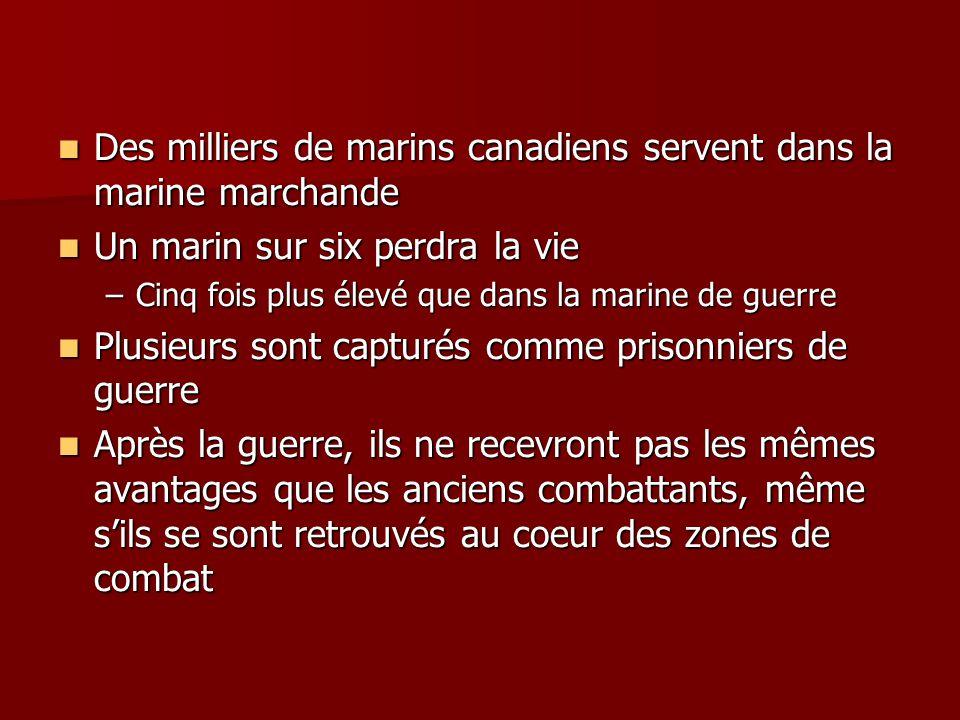 Des milliers de marins canadiens servent dans la marine marchande