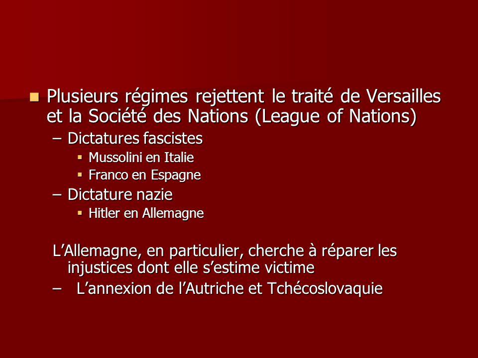 Plusieurs régimes rejettent le traité de Versailles et la Société des Nations (League of Nations)
