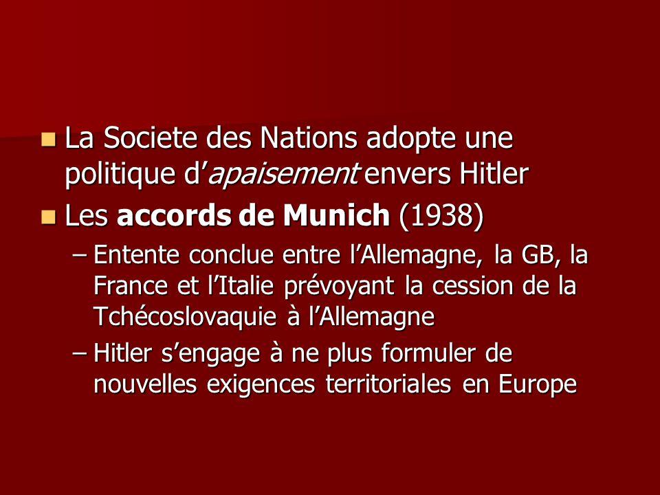 La Societe des Nations adopte une politique d'apaisement envers Hitler