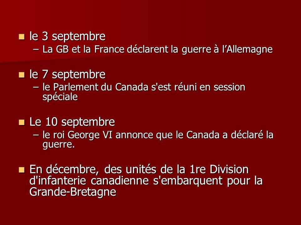 le 3 septembre le 7 septembre Le 10 septembre