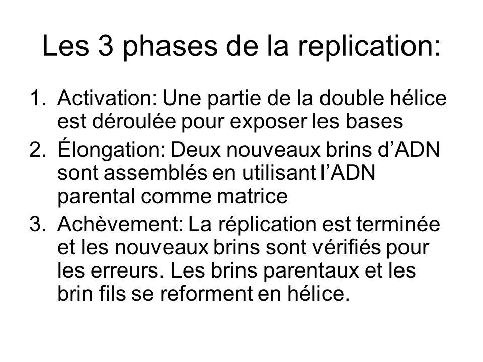 Les 3 phases de la replication: