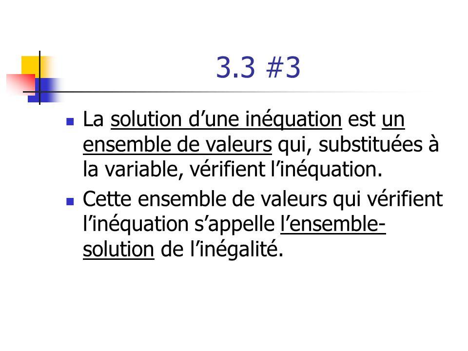 3.3 #3 La solution d'une inéquation est un ensemble de valeurs qui, substituées à la variable, vérifient l'inéquation.