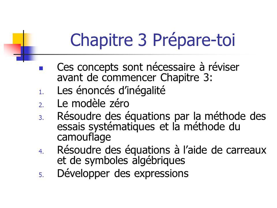 Chapitre 3 Prépare-toi Ces concepts sont nécessaire à réviser avant de commencer Chapitre 3: Les énoncés d'inégalité.