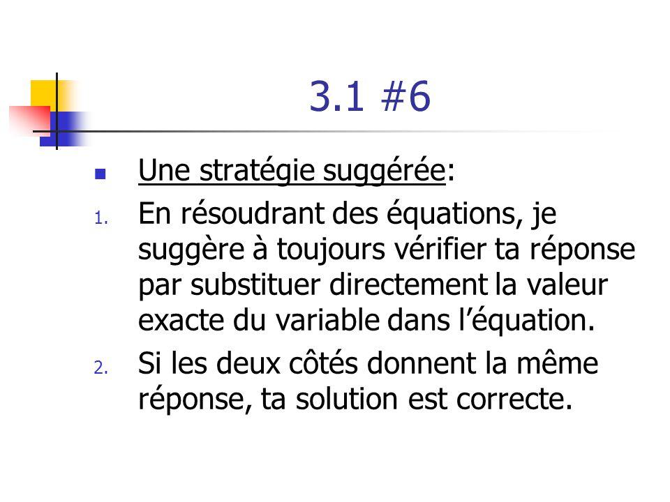 3.1 #6 Une stratégie suggérée: