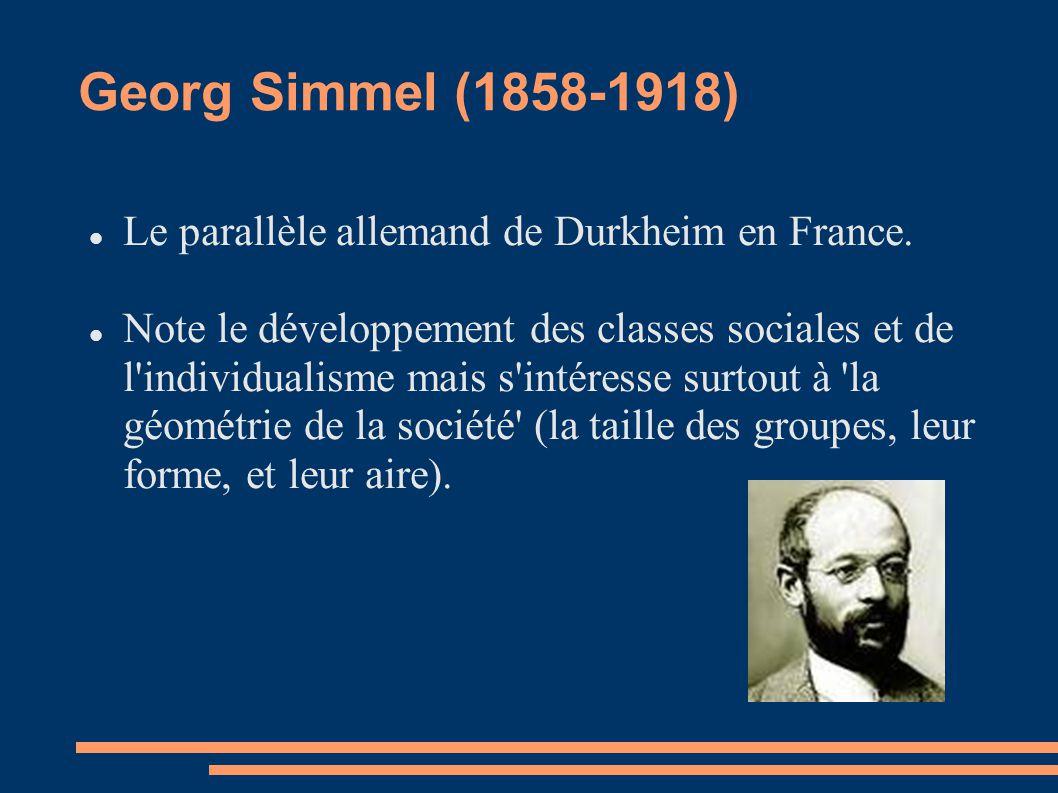 Georg Simmel (1858-1918) Le parallèle allemand de Durkheim en France.