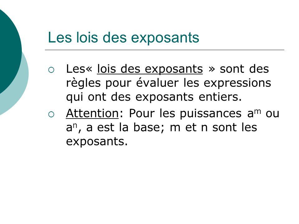 Les lois des exposants Les« lois des exposants » sont des règles pour évaluer les expressions qui ont des exposants entiers.