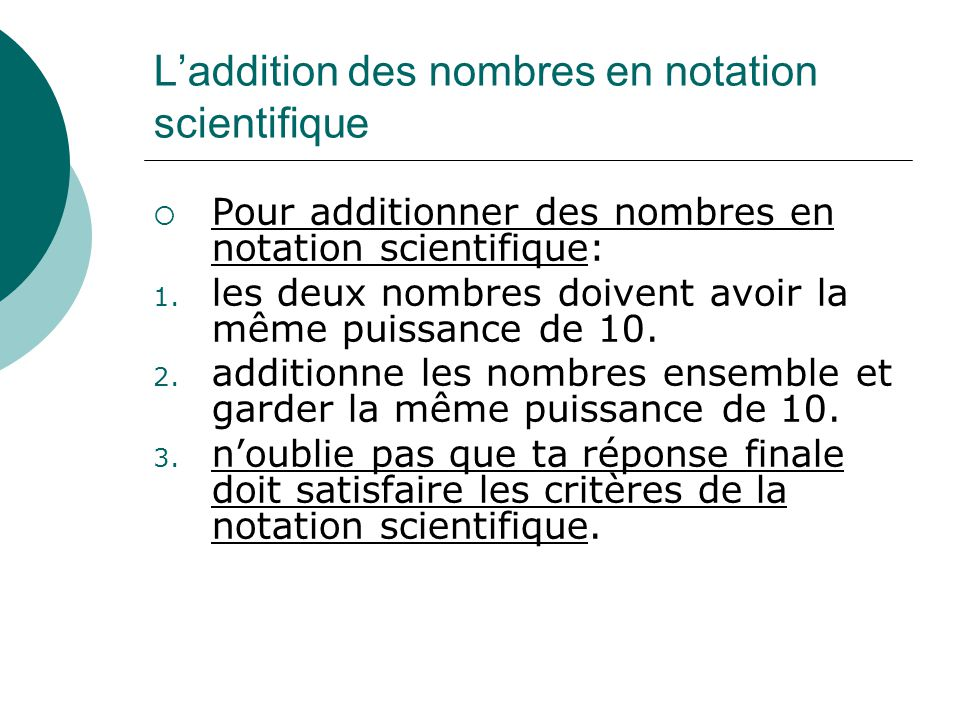 L'addition des nombres en notation scientifique