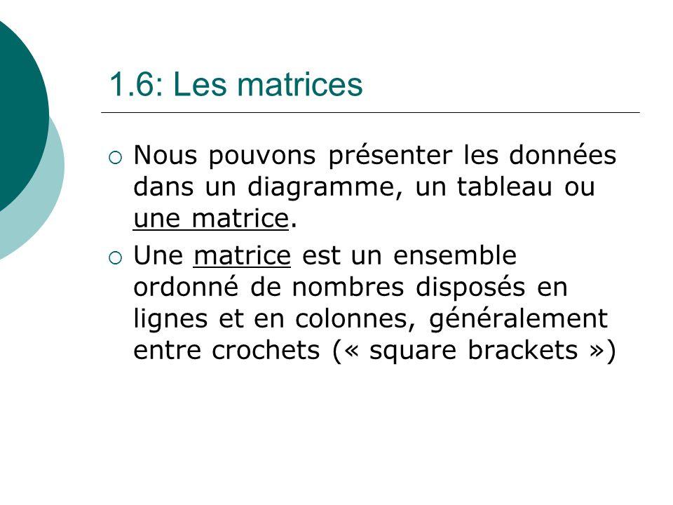 1.6: Les matrices Nous pouvons présenter les données dans un diagramme, un tableau ou une matrice.