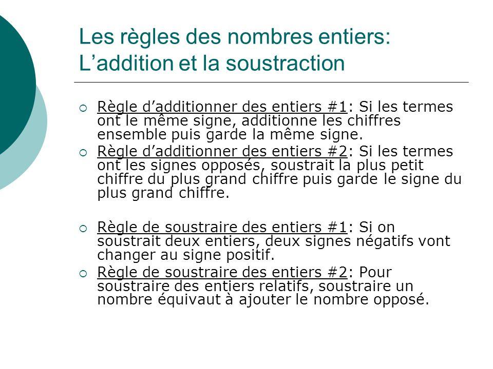 Les règles des nombres entiers: L'addition et la soustraction