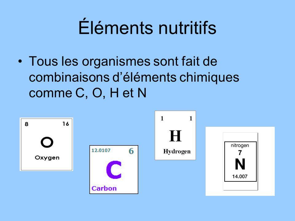Éléments nutritifs Tous les organismes sont fait de combinaisons d'éléments chimiques comme C, O, H et N.