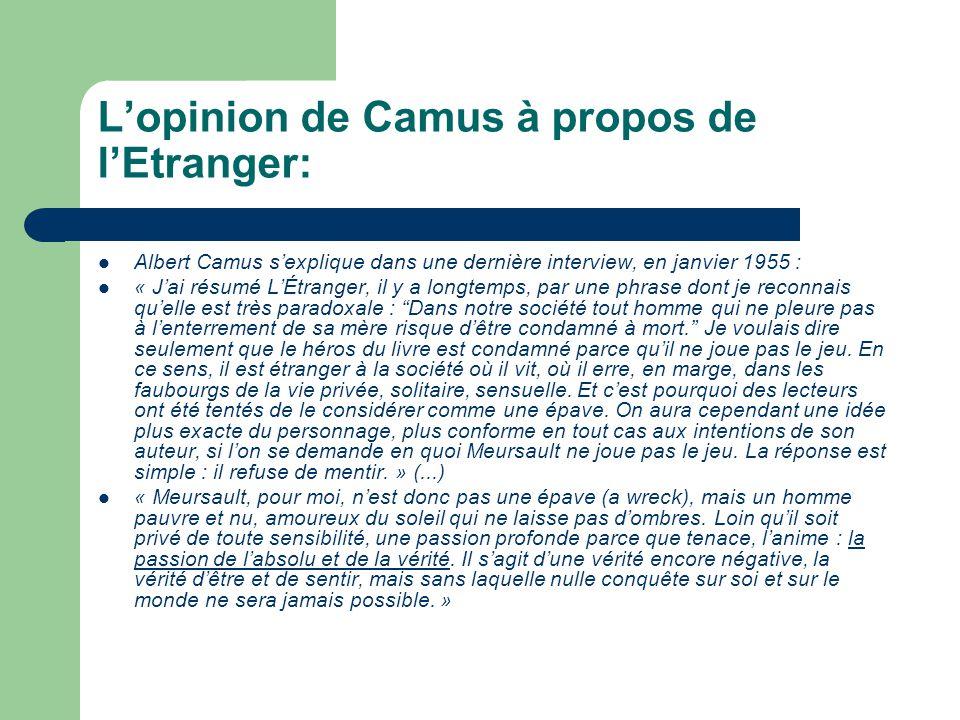 L'opinion de Camus à propos de l'Etranger: