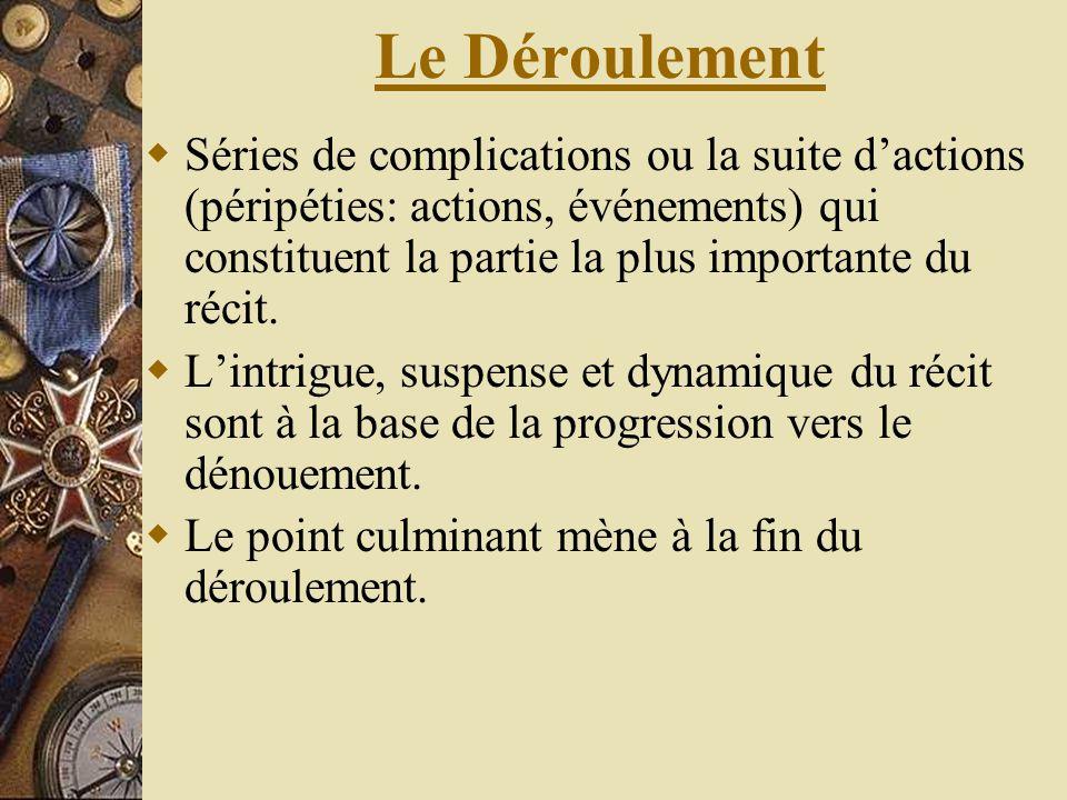 Le Déroulement Séries de complications ou la suite d'actions (péripéties: actions, événements) qui constituent la partie la plus importante du récit.