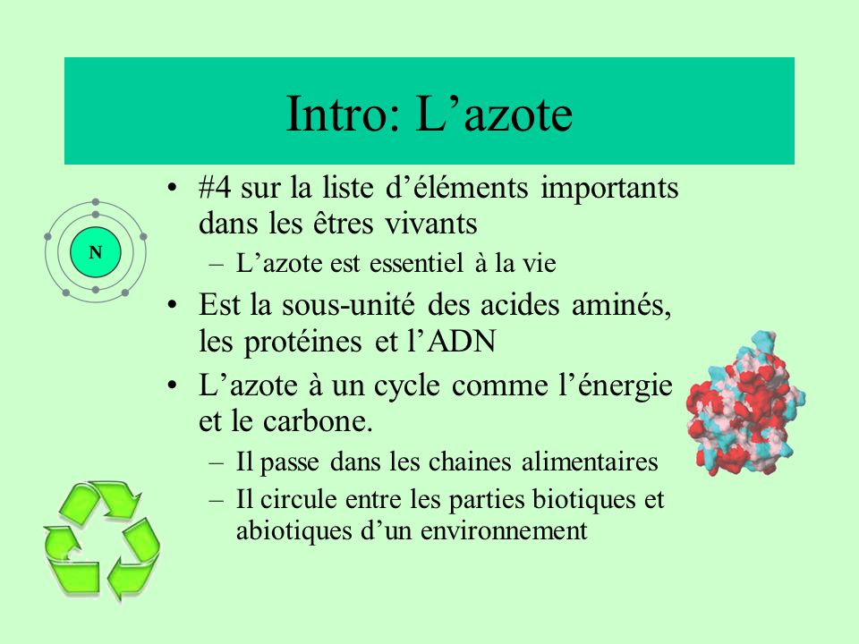 Intro: L'azote #4 sur la liste d'éléments importants dans les êtres vivants. L'azote est essentiel à la vie.