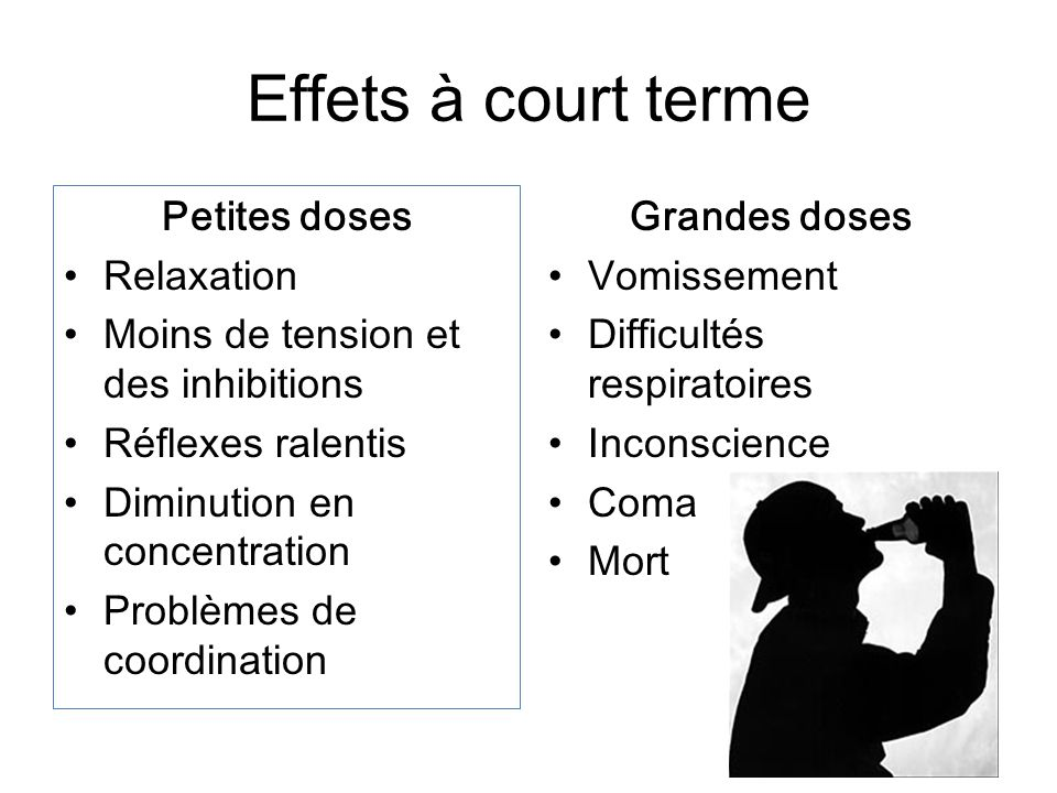 Effets à court terme Petites doses Relaxation