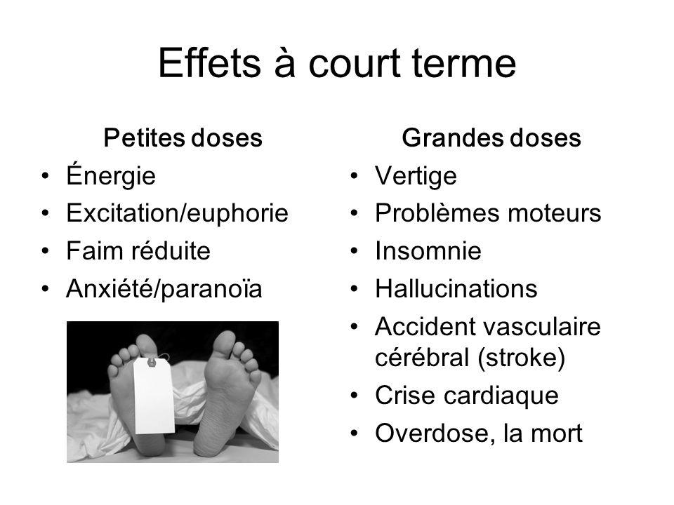 Effets à court terme Petites doses Énergie Excitation/euphorie