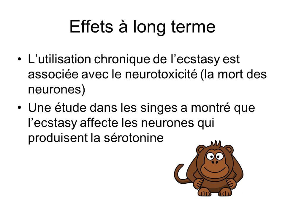 Effets à long terme L'utilisation chronique de l'ecstasy est associée avec le neurotoxicité (la mort des neurones)