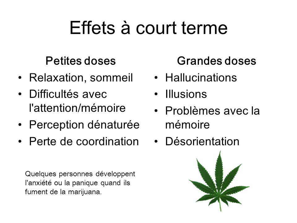 Effets à court terme Petites doses Relaxation, sommeil