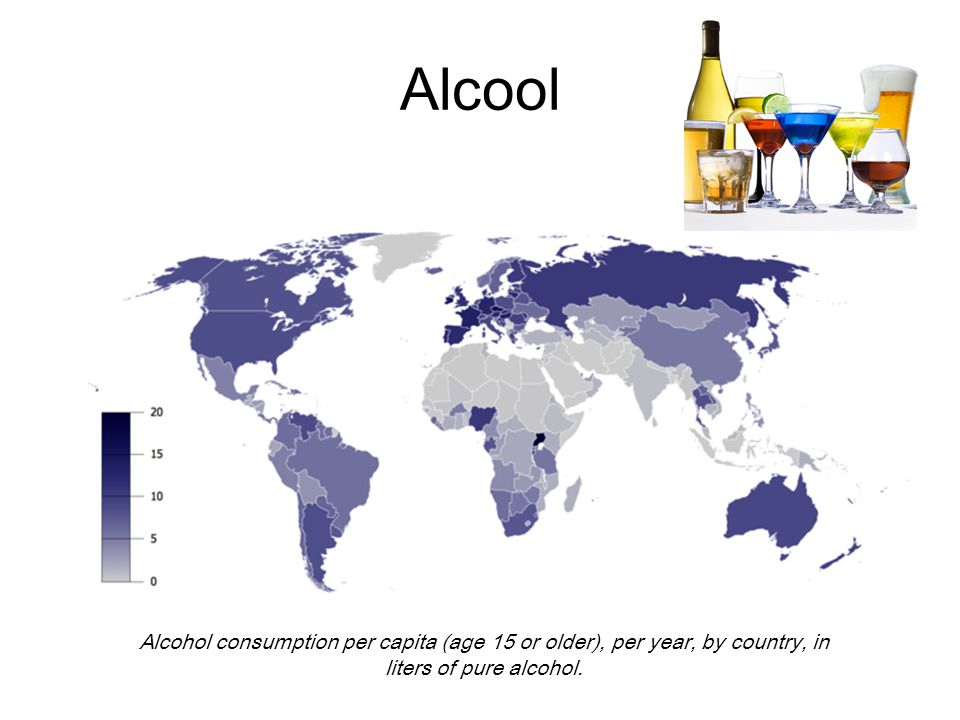 Alcool Alcohol consumption per capita (age 15 or older), per year, by country, in liters of pure alcohol.