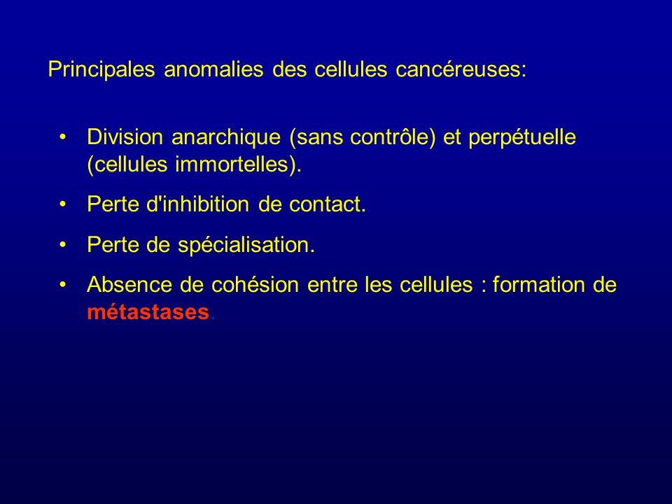 Principales anomalies des cellules cancéreuses: