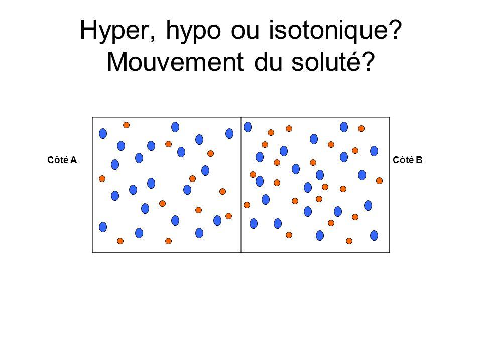 Hyper, hypo ou isotonique Mouvement du soluté
