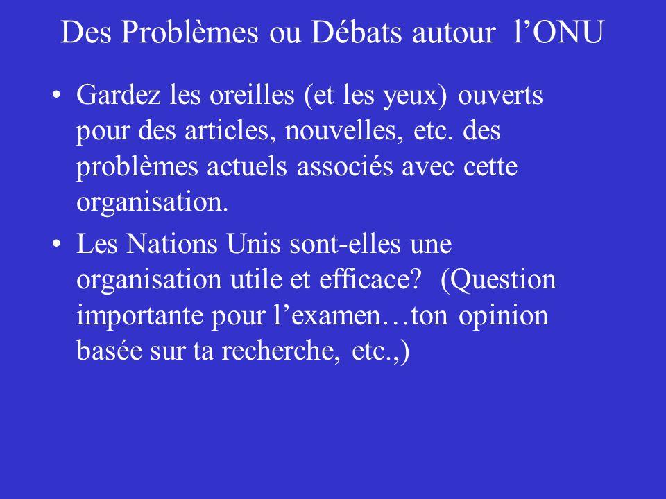 Des Problèmes ou Débats autour l'ONU