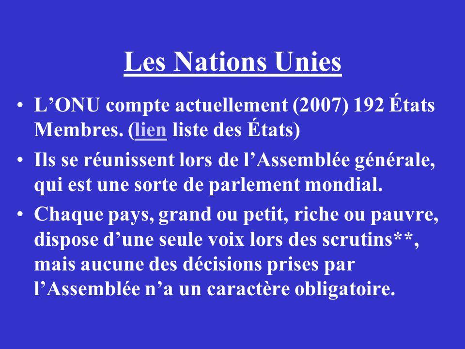 Les Nations Unies L'ONU compte actuellement (2007) 192 États Membres. (lien liste des États)