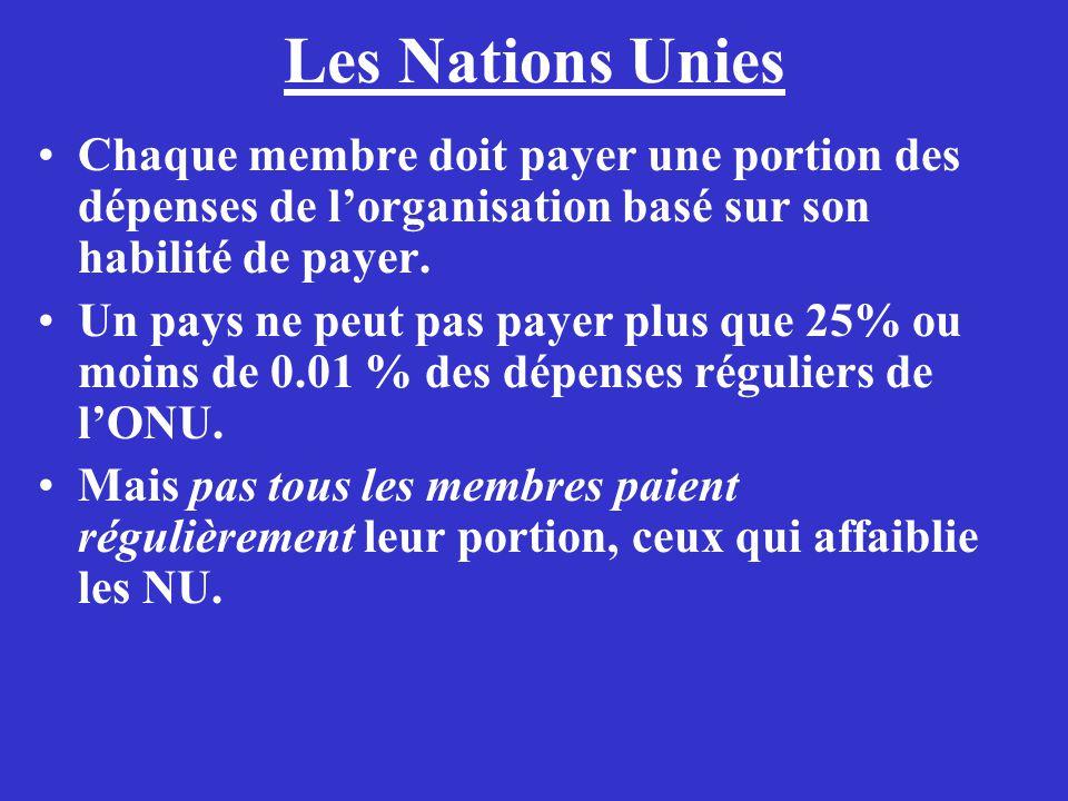 Les Nations Unies Chaque membre doit payer une portion des dépenses de l'organisation basé sur son habilité de payer.