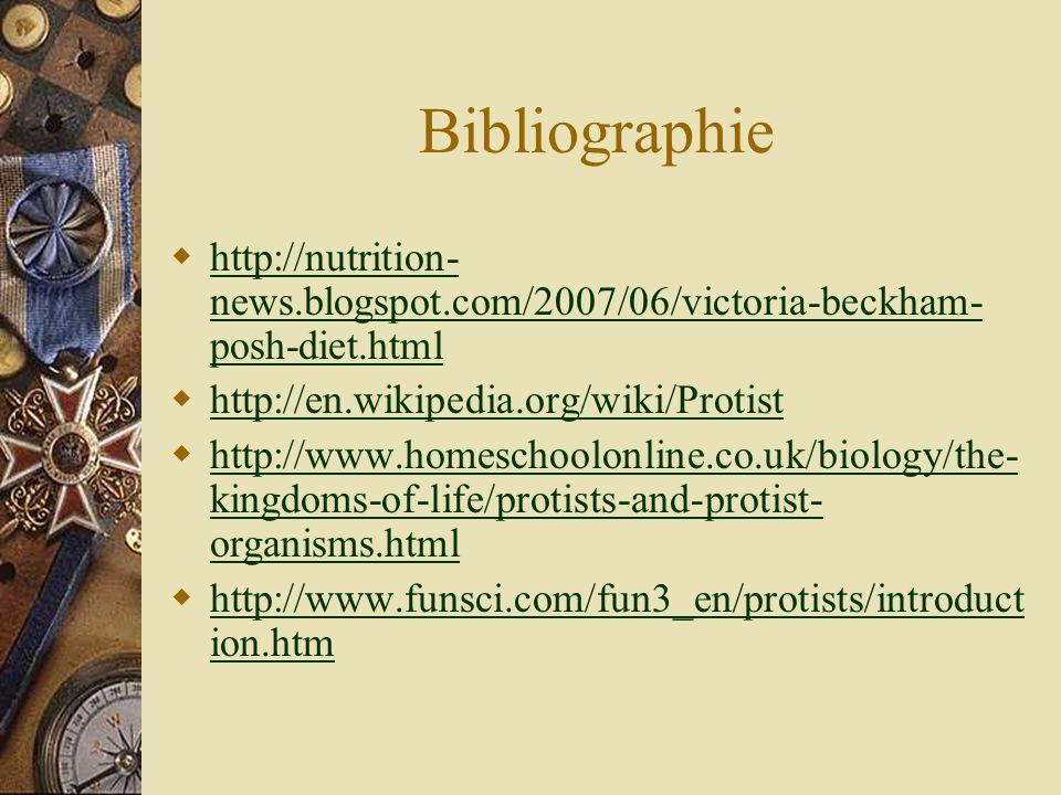 Bibliographie http://nutrition-news.blogspot.com/2007/06/victoria-beckham-posh-diet.html. http://en.wikipedia.org/wiki/Protist.