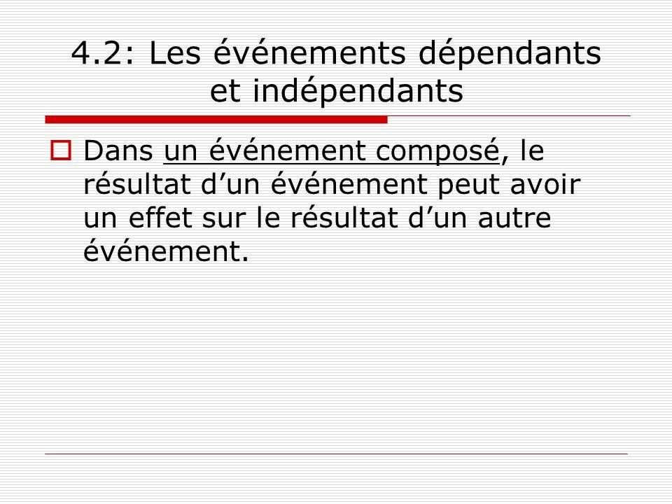4.2: Les événements dépendants et indépendants