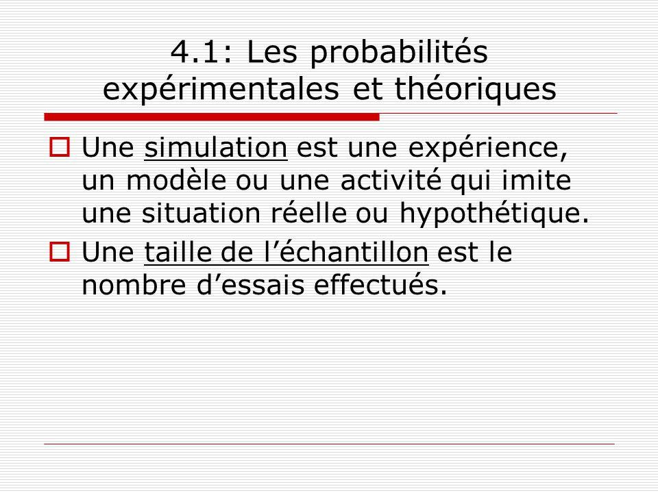 4.1: Les probabilités expérimentales et théoriques